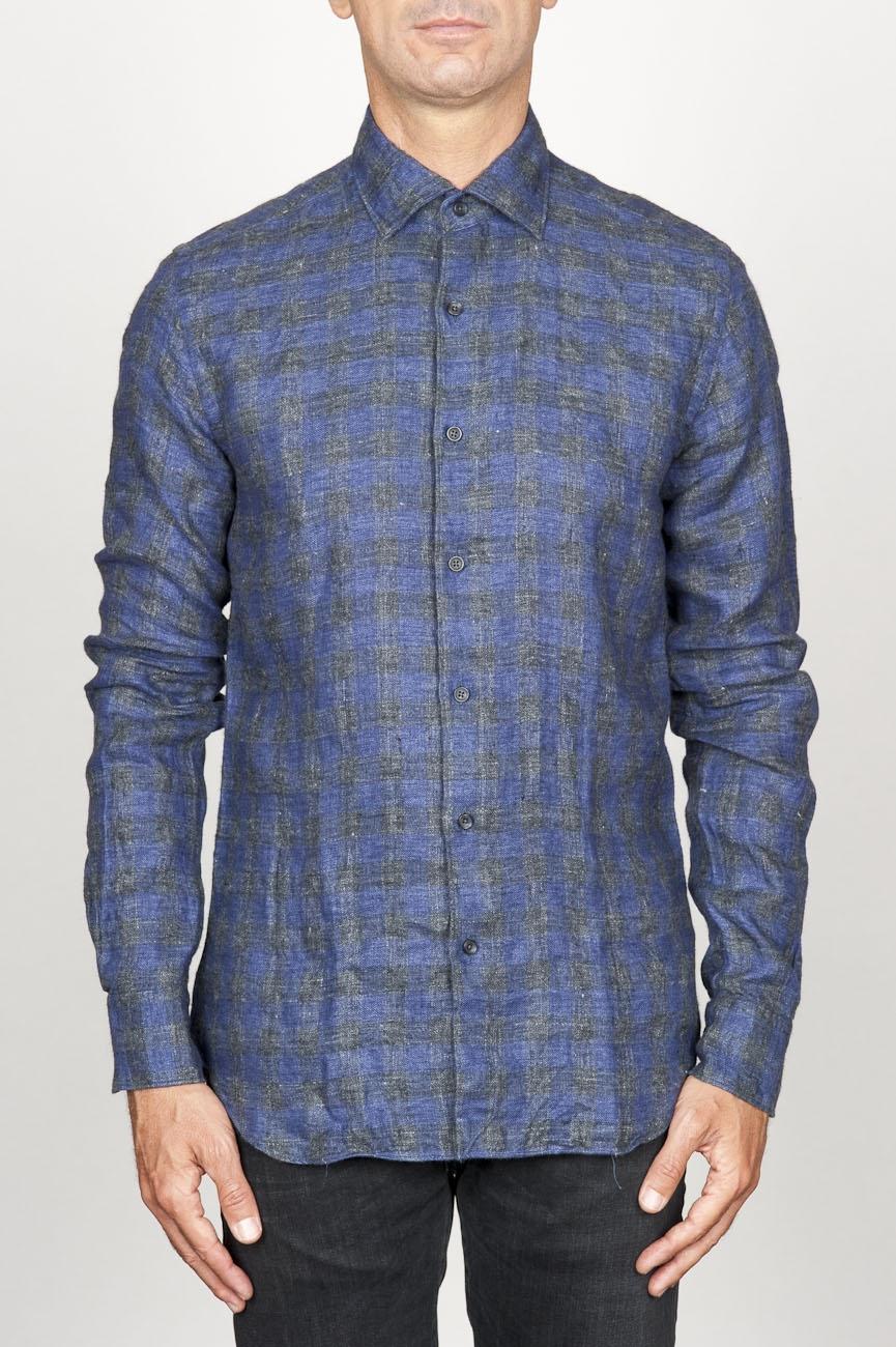 SBU 00929 Clásica camisa gris de cuadros de lino con cuello de punta  01