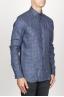 SBU 00929 Clásica camisa gris de cuadros de lino con cuello de punta  02