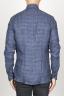 SBU 00929 Clásica camisa gris de cuadros de lino con cuello de punta  04