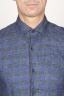 SBU 00929 Clásica camisa gris de cuadros de lino con cuello de punta 05