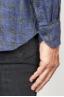 SBU 00929 Clásica camisa gris de cuadros de lino con cuello de punta 06