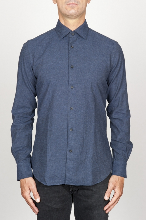 Chemise classique bleu à col pointu en flanelle de coton