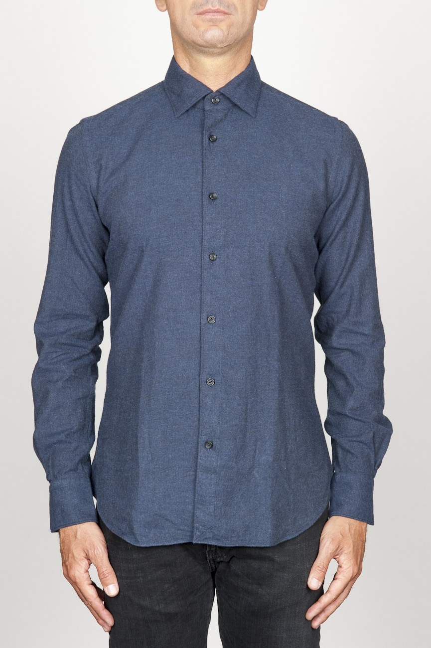 SBU 00930 Classic point collar blue cotton flannel shirt 01
