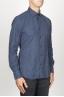 SBU 00930 Clásica camisa azul de franela de algodón con cuello de punta  02