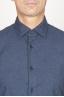 SBU 00930 Clásica camisa azul de franela de algodón con cuello de punta 05