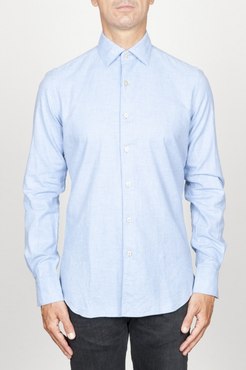 Classic point collar light blue cotton flannel shirt