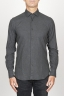 SBU 00932 クラシックなポイントの襟の灰色の綿のネルシャツ 01