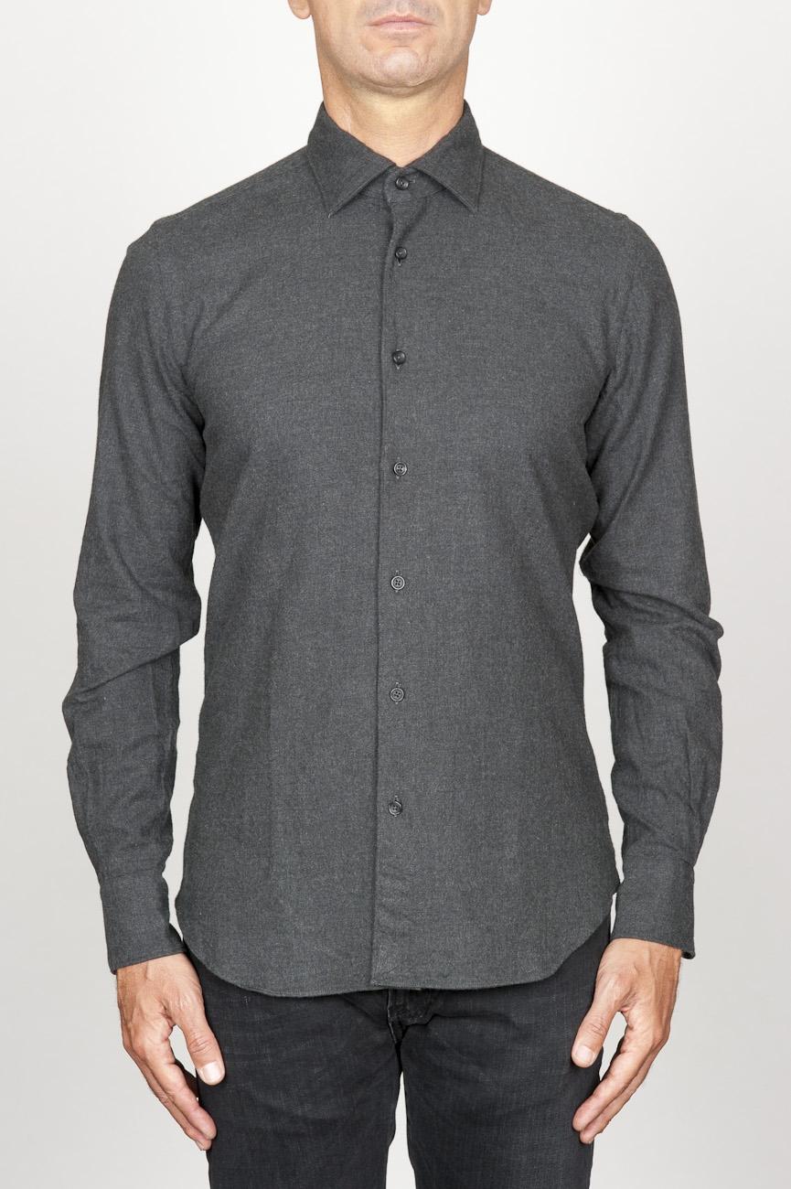 SBU 00932 Camicia classica collo a punta in flanella di cotone grigia 01
