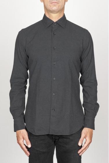 SBU 00933 Camicia classica collo a punta in flanella di cotone nera 01