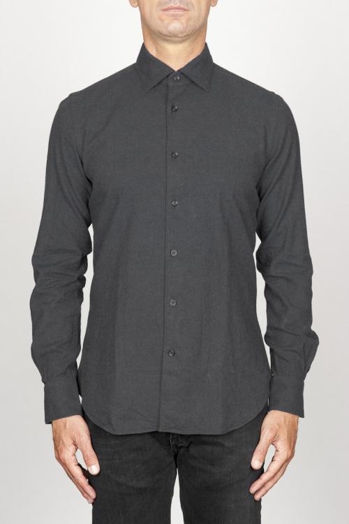 Chemise classique noir à col pointu en flanelle de coton