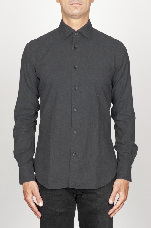 Classic point collar black cotton flannel shirt