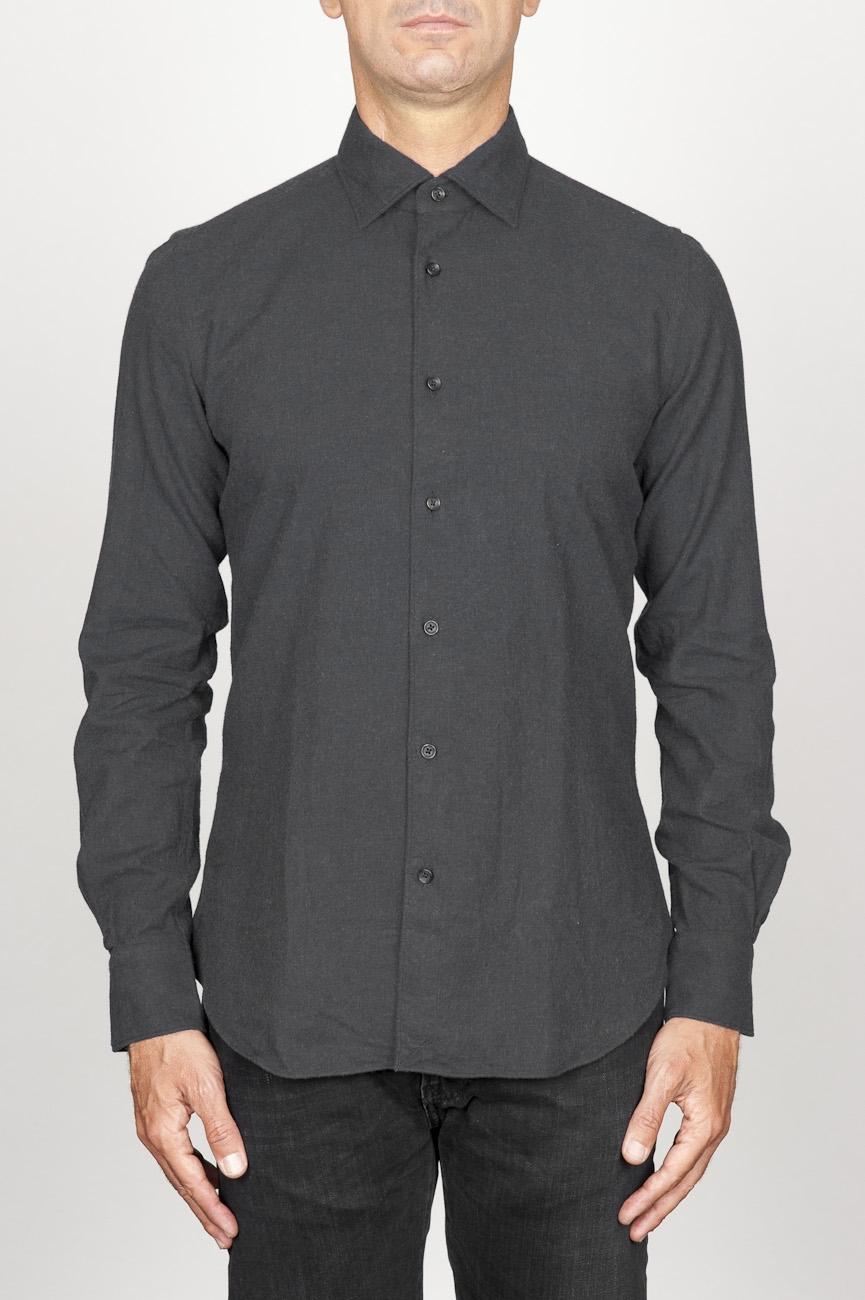 SBU 00933 Chemise classique noir à col pointu en flanelle de coton  01