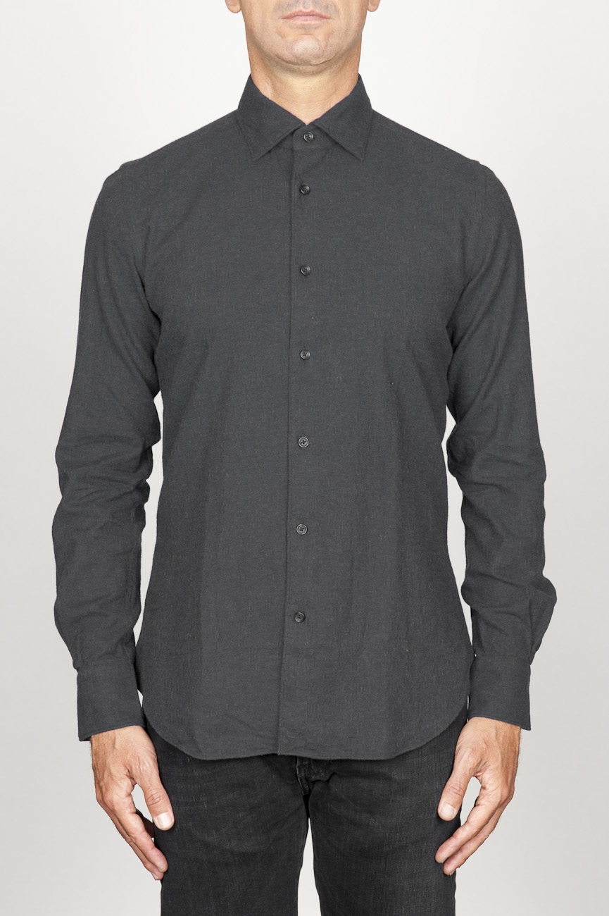 SBU 00933 Classic point collar black cotton flannel shirt 01