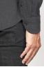 SBU 00933 Chemise classique noir à col pointu en flanelle de coton 06