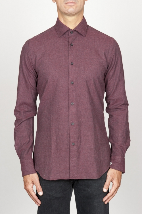 Chemise classique rouge à col pointu en flanelle de coton