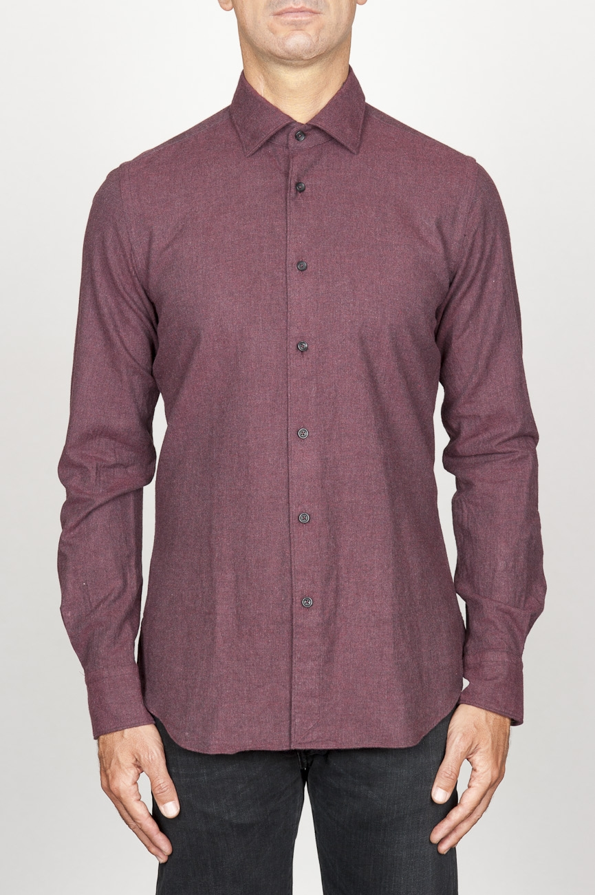 SBU 00934 Classic point collar red cotton flannel shirt 01
