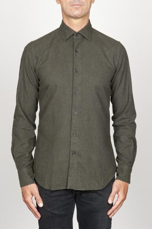 Clásica camisa verde de franela de algodón con cuello de punta