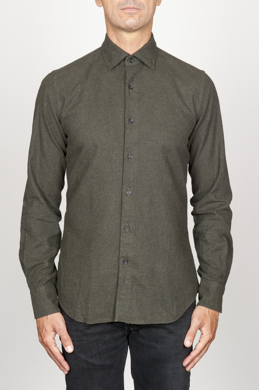 SBU 00935 Classic point collar green cotton flannel shirt 01