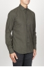 SBU 00935 Camicia classica collo a punta in flanella di cotone verde 02