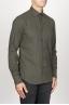 SBU 00935 Clásica camisa verde de franela de algodón con cuello de punta  02