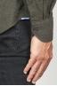 SBU 00935 Camicia classica collo a punta in flanella di cotone verde 06