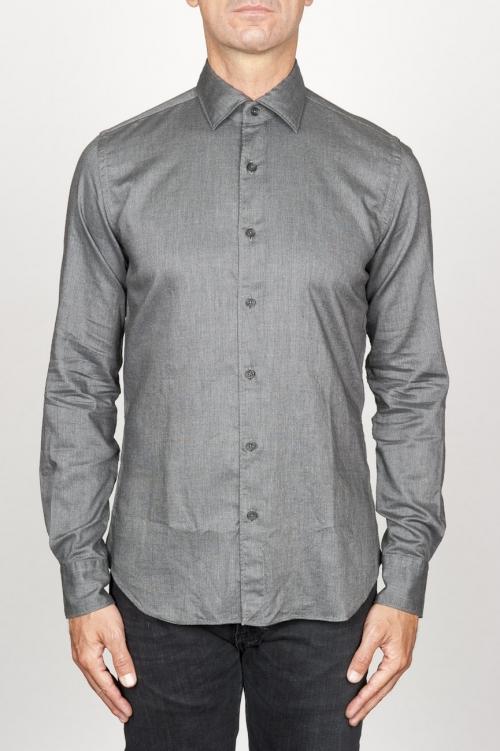 SBU 00936 クラシックなポイントカラー灰色の洗浄オックスフォードシャツ 01