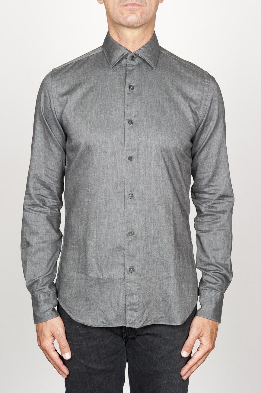 SBU 00936 Clásica camisa oxford gris lavado con cuello de punta  01