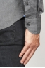 SBU 00936 Camicia classica collo a punta in oxford lavato grigia 06