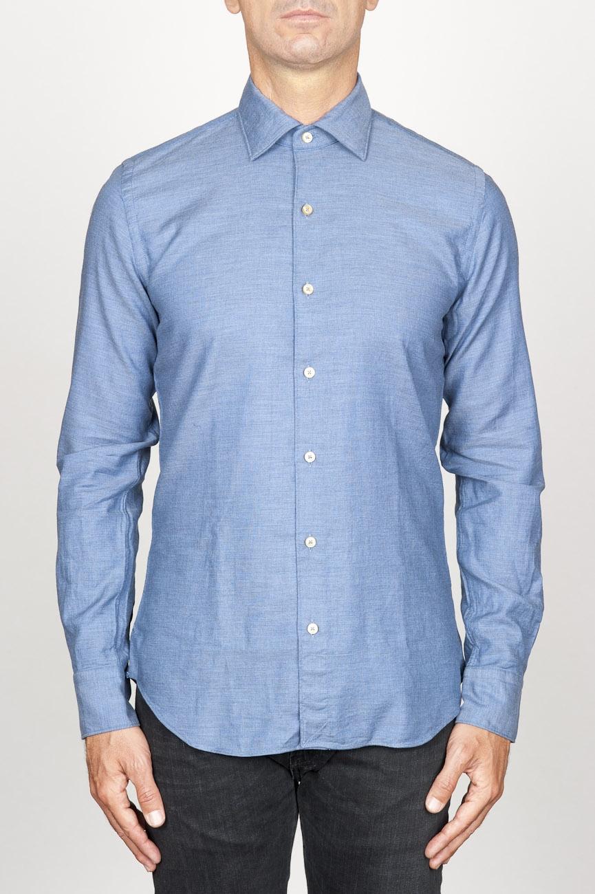 SBU 00937 Camicia classica collo a punta in oxford lavato celeste 01
