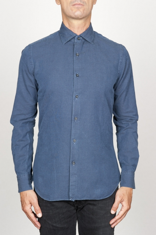 SBU 00938 Classic point collar blue washed oxford shirt 01