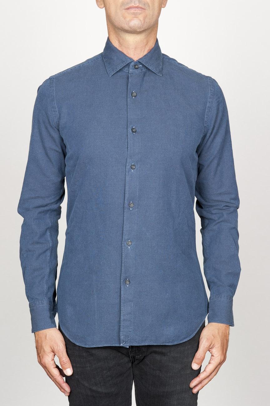 SBU 00938 Clásica camisa oxford azul lavado con cuello de punta  01
