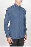 SBU 00938 Clásica camisa oxford azul lavado con cuello de punta  02