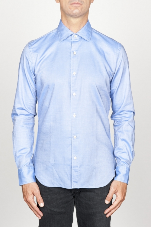 SBU 00939 Classic point collar blue oxford cotton shirt 01