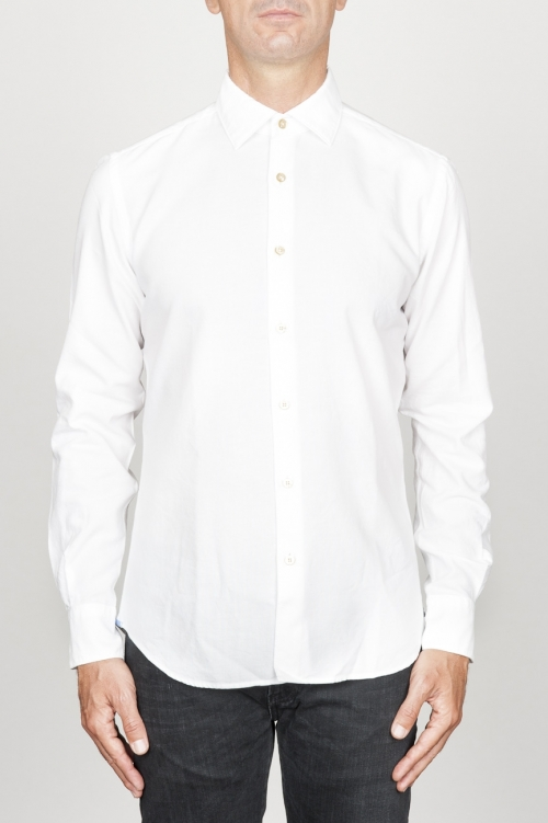 SBU 00940 Camicia classica collo a punta in cotone oxford bianca 01