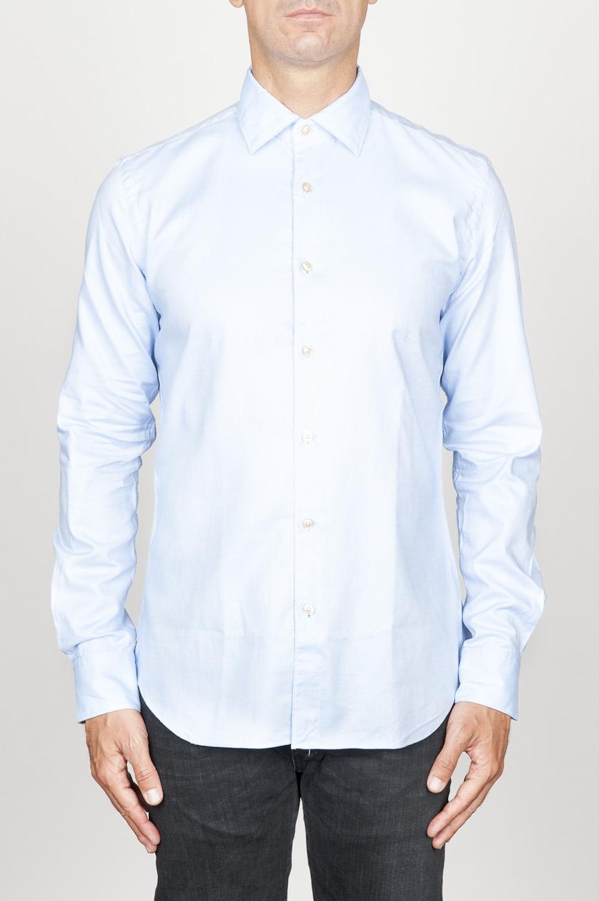 SBU 00941 Clásica camisa oxford azul claro de algodón con cuello de punta  01