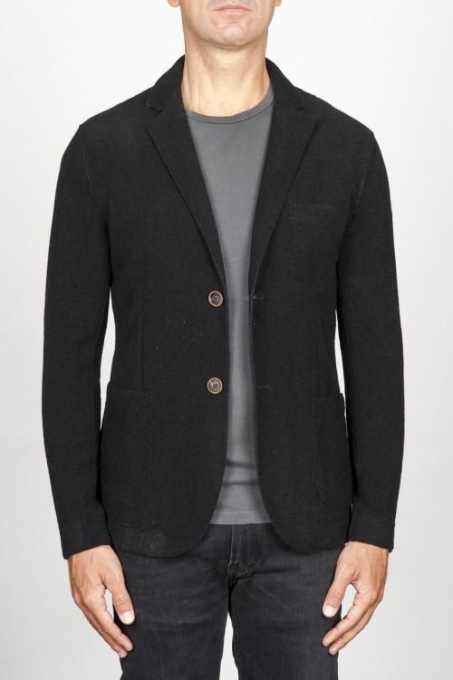 Giacca sfoderata monopetto in misto lana elasticizzata nera
