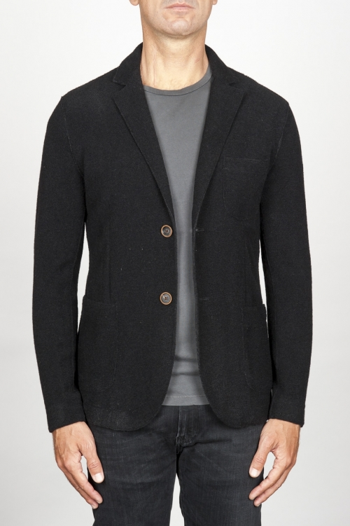 Single breasted black stretch wool blend blazer