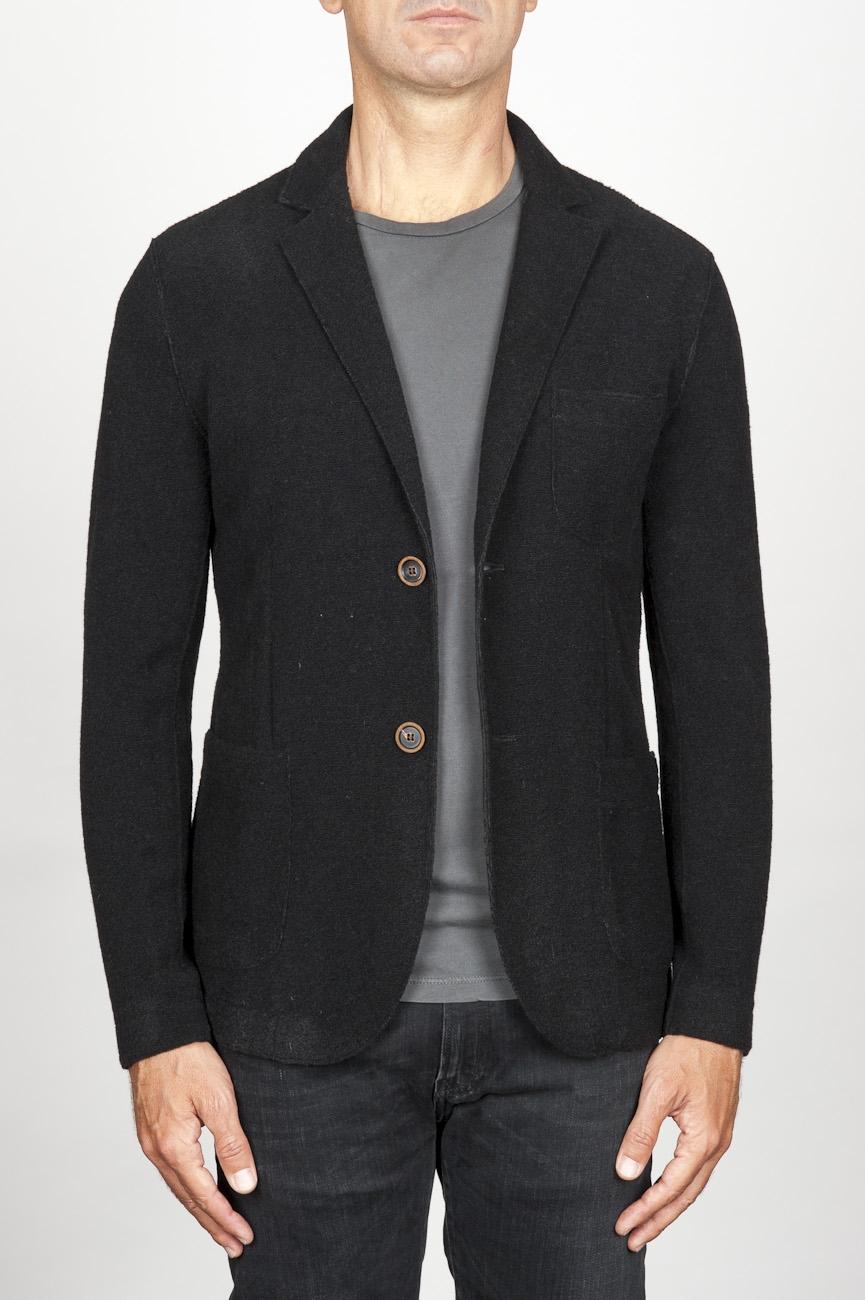 SBU 00909 Single breasted black stretch wool blend blazer 01