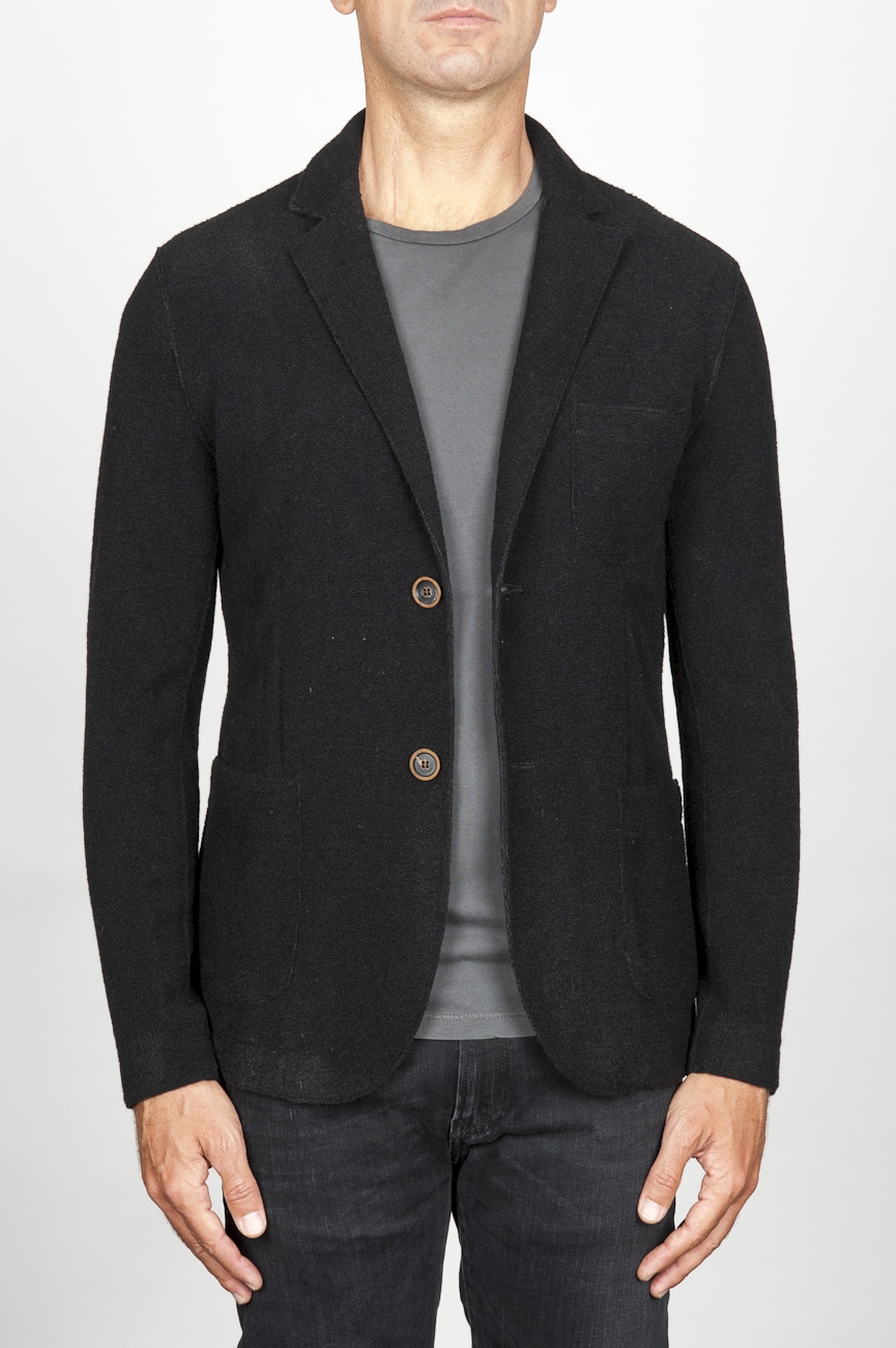 SBU 00909 Single breasted black stretch wool blend blazer 01