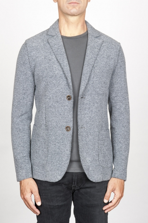Single breasted grey stretch wool blend blazer