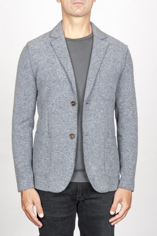 Single breasted grey stretch wool blend blazer
