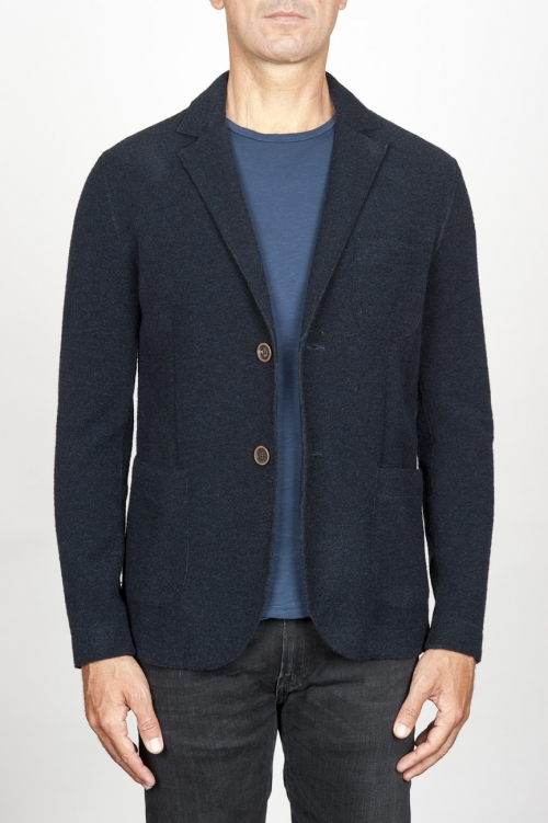 Single breasted blue stretch wool blend blazer