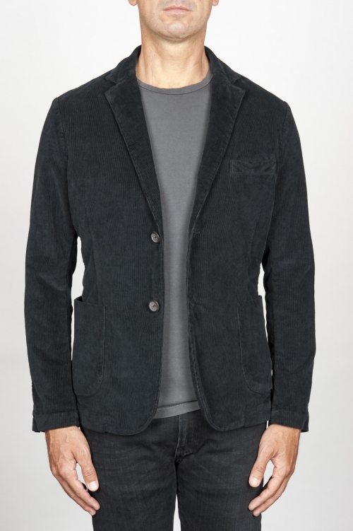 Single breasted black stretch cotton corduroy blazer