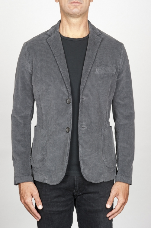 Single breasted grey stretch cotton corduroy blazer