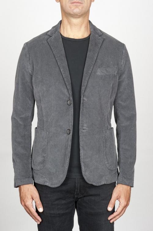 Single breasted grey stretch cotton corduroy blazer