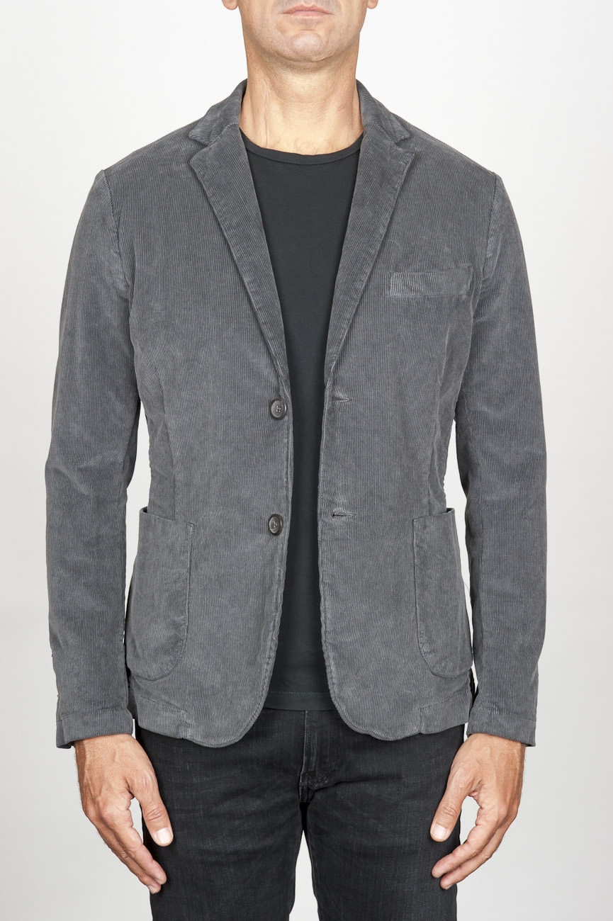 SBU 00913 Single breasted grey stretch cotton corduroy blazer 01