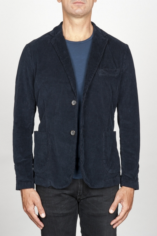 Single breasted blue stretch cotton corduroy blazer