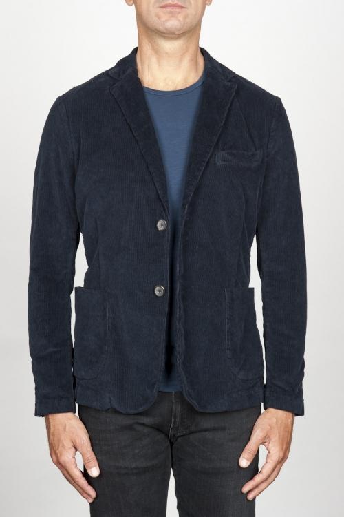 Single breasted blue stretch cotton corduroy blazer