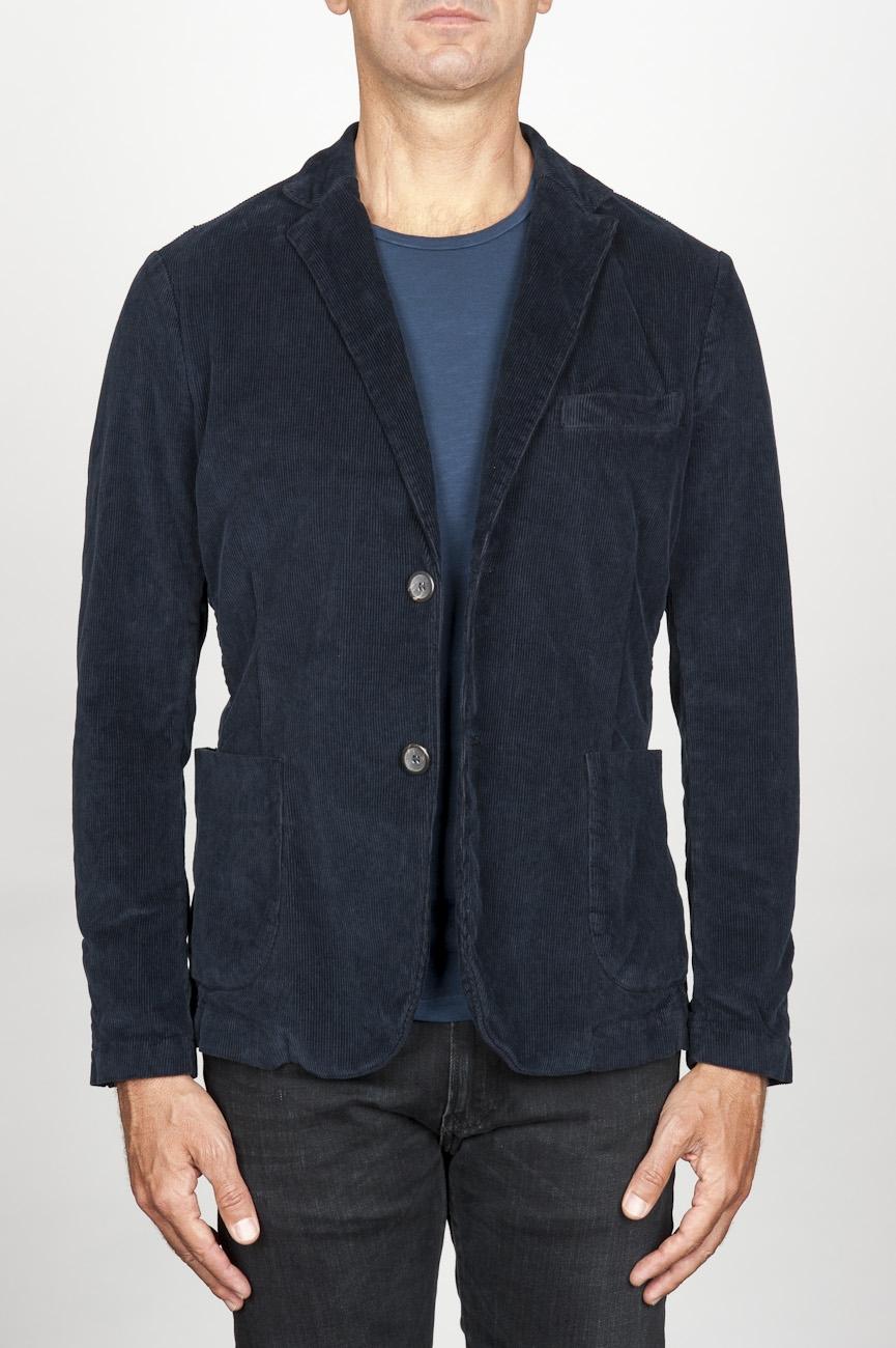 SBU 00914 Single breasted blue stretch cotton corduroy blazer 01