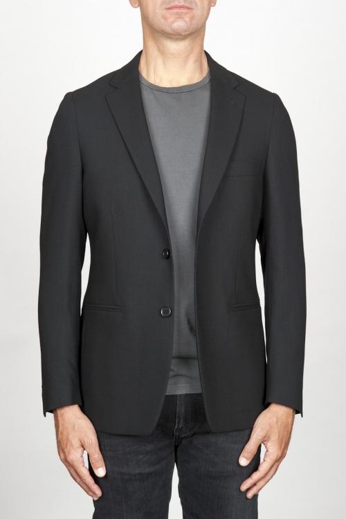 ブラックウールのシングルブレストアンライン2ボタンジャケット